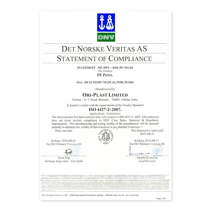 Oriplast Certificates